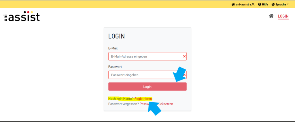 gaséist  LOGIN  E-Mail  E-Mail-Adresse eingeben  Passwort  Passwort eingeben  Login  Noch kein Konto? Registrieren  Passwort vergessen? Pass  uni-assist e.V.  x  O Hilfe Sprache •  A LOGIN  cksetzen
